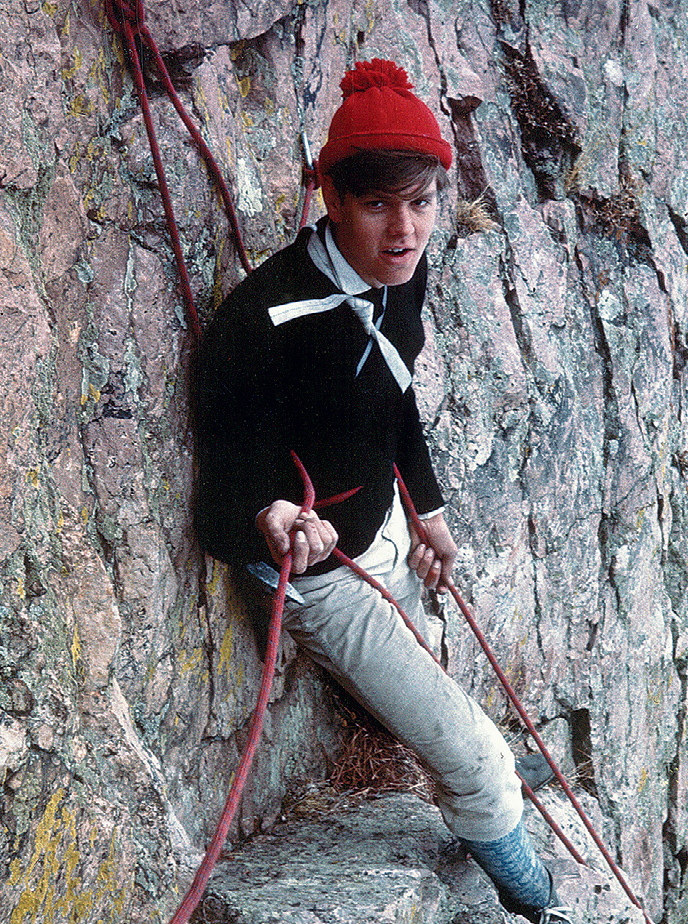 Goss giving a hip belay in the 1960s. [Photo] Jamie Logan