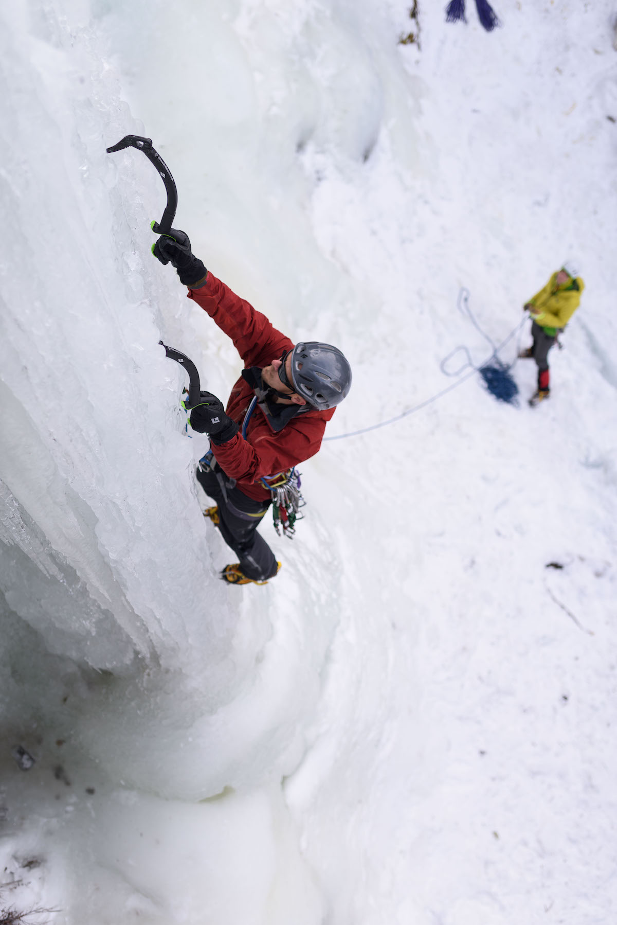 Todd Preston leads Alpha (WI5) with the Black Diamond Reactor ice tools in Hyalite Canyon, Montana. [Photo] Jim Menkol