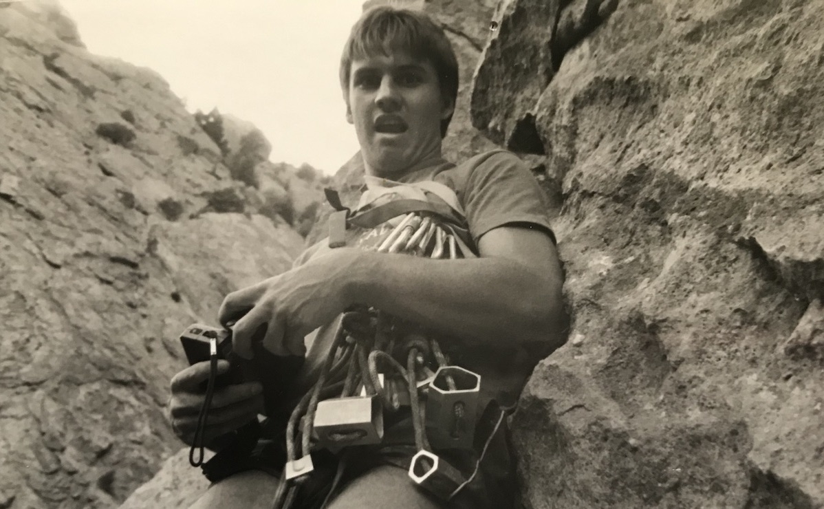 The author with a standard New Mexico rack, ca. 1982—hexes and saddle wedges...sad times, he reflects. [Photo] Nestor Solano