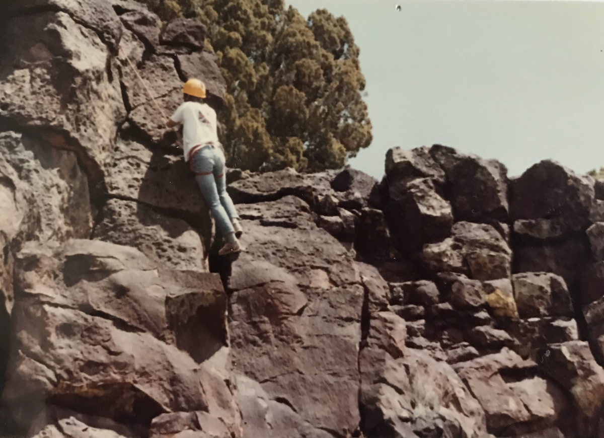 The author toproping in the Los Alamos Mountaineers climbing course as a high school student in 1981. [Photo] Cameron M. Burns collection