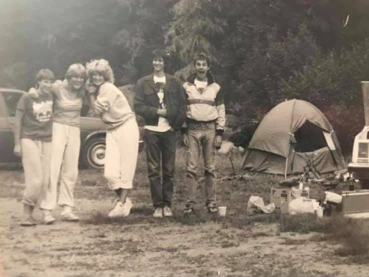 Camping in the Jemez Mountains, NM, ca. 1982. From left to right: Brenda Barr, Kristin Kenyon, unknown, Dave Hayes, Cameron Burns. [Photo] Courtesy of Brenda Barr