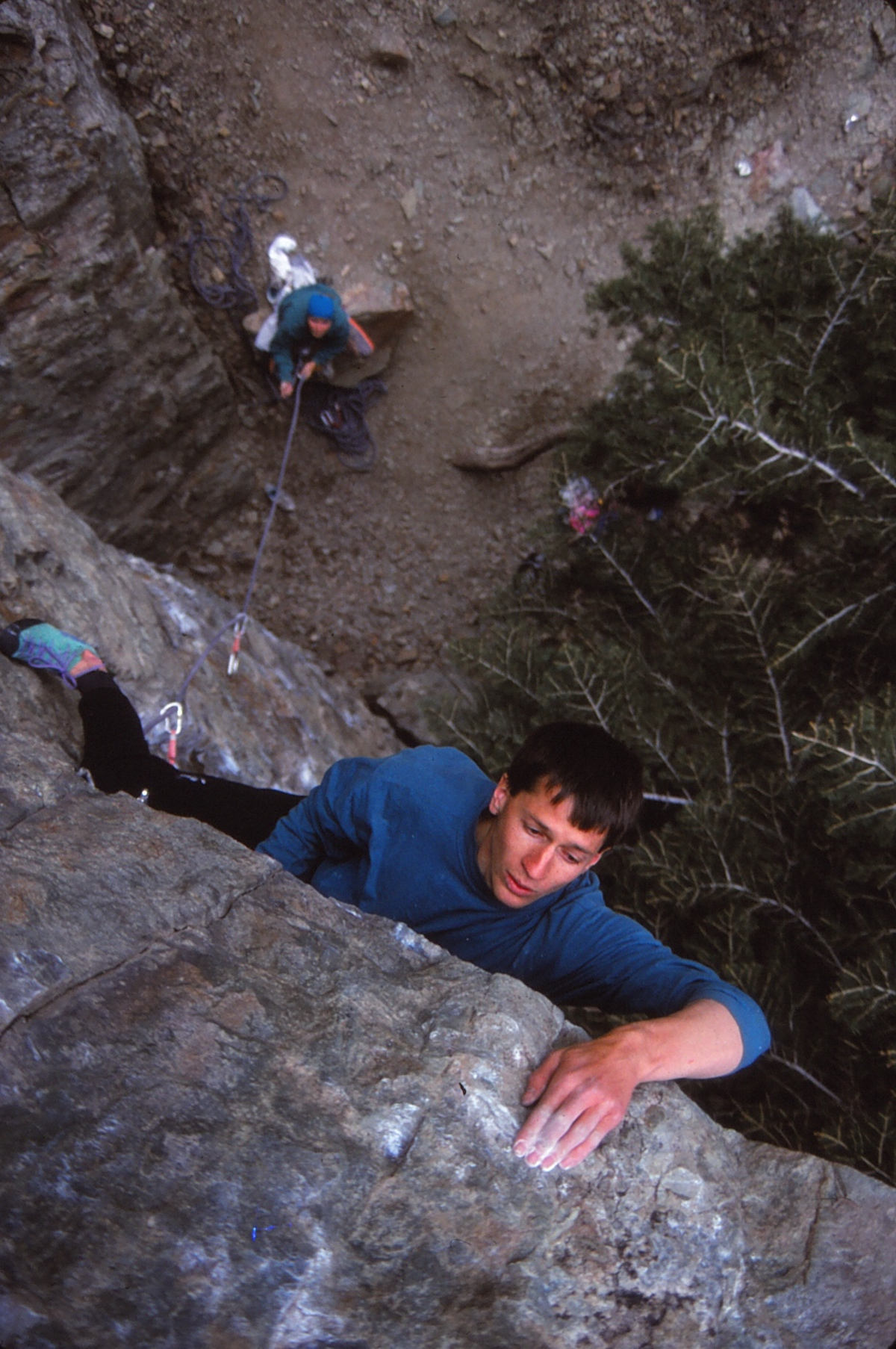 Dave Hayes on Big in Japan (5.12a) in Big Cottonwood Canyon, Utah, ca. late 1980s-early '90s. [Photo] Cameron M. Burns