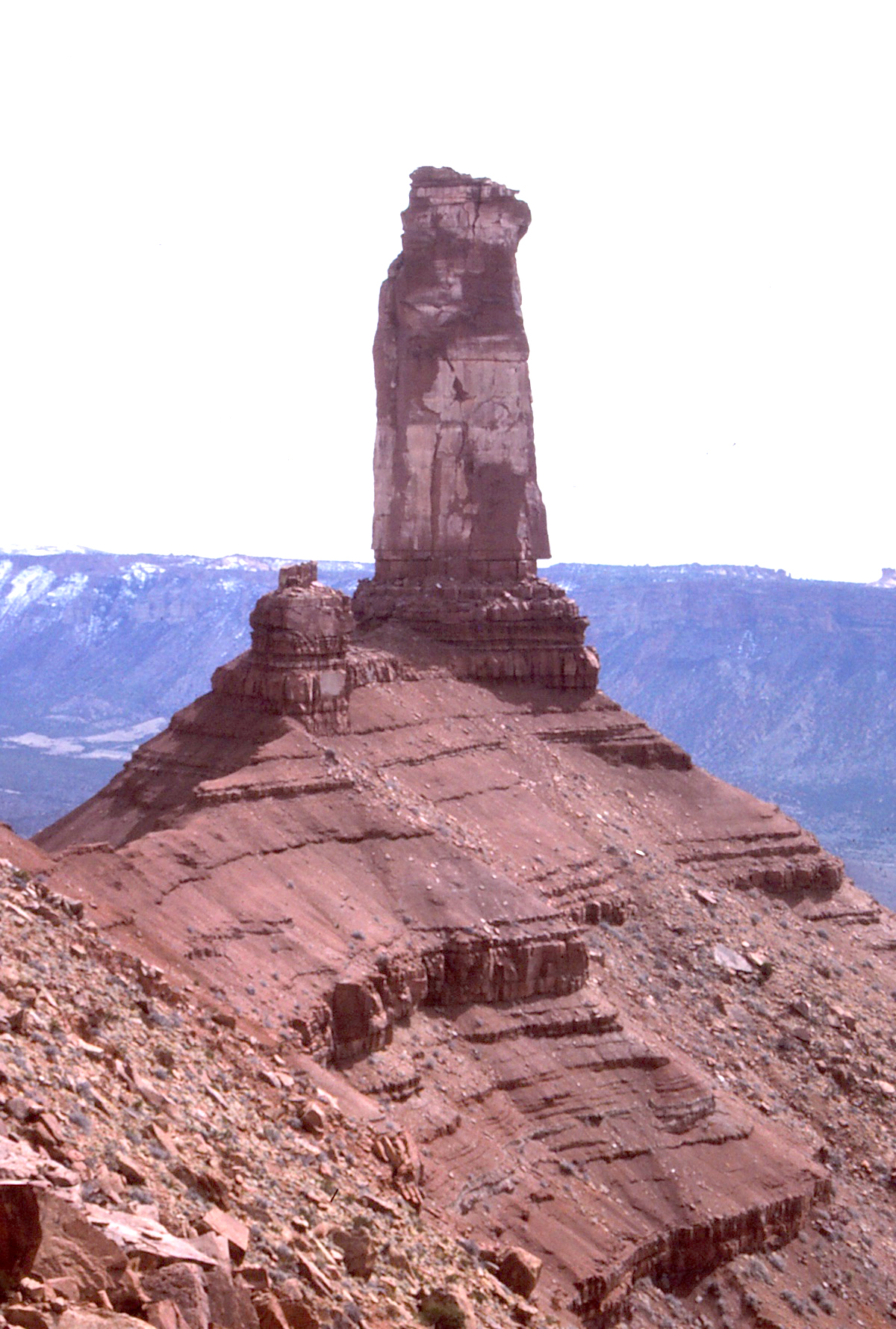 The north face of Castleton Tower, Utah. The Kor-Ingalls Route described in the story ascends the opposite side of the tower. [Photo] Cameron M. Burns