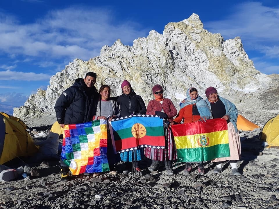 Colera camp, from left to right:  Cristian Painemal, Dora Magueno, Ana Lia Gonzales, Elena Quispe, Cecilia  Llusco, Lidia Huayllas. [Photo] Courtesy of Ana Lia Gonzale