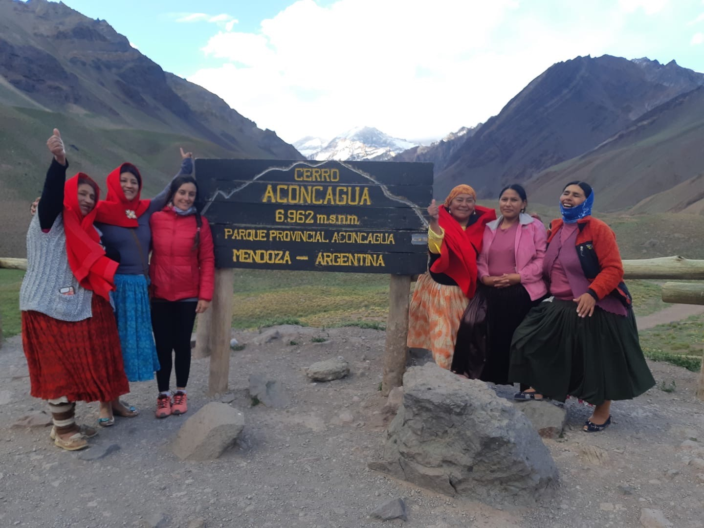At the entrance to the Aconcagua Park. Dora Magueno. AnaLia Gonzales. Pamela. Lidia Huayllas. Elena Quispe. Cecilia Llusco. [Photo] Courtesy of Ana Lia Gonzales