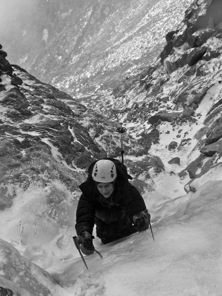 Ives ice climbing in Huntington Ravine, Agiocochook (Mt. Washington), New Hampshire. [Photo] Alan Cattabriga