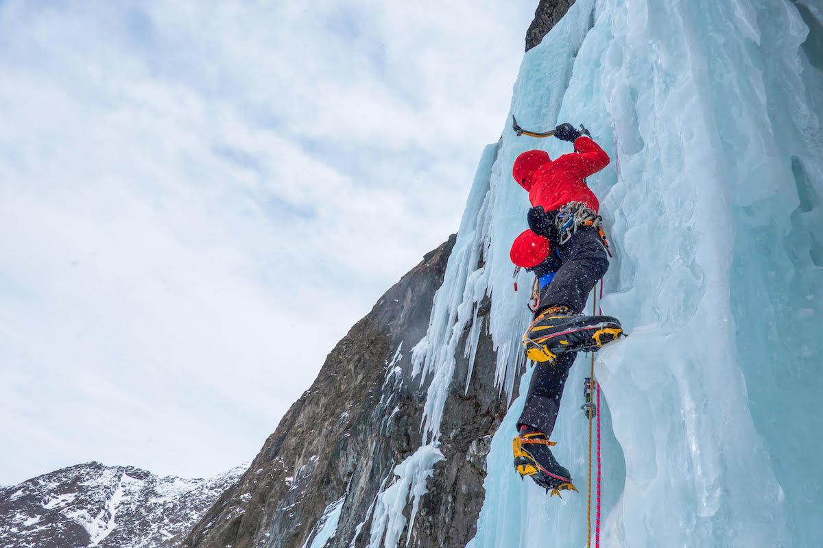 Clint Helander wearing the La Sportiva Trango Tower Extreme boots on an ice climb. [Photo] John Giraldo