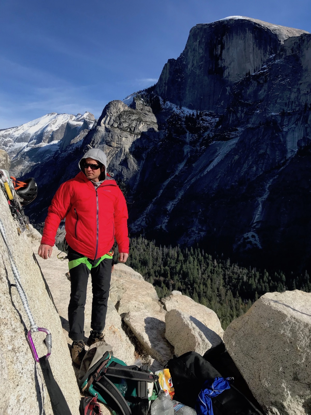 The author on Washington Column wearing the Patagonia Mirco Puff Storm Jacket. [Photo] Andy Hoeckel