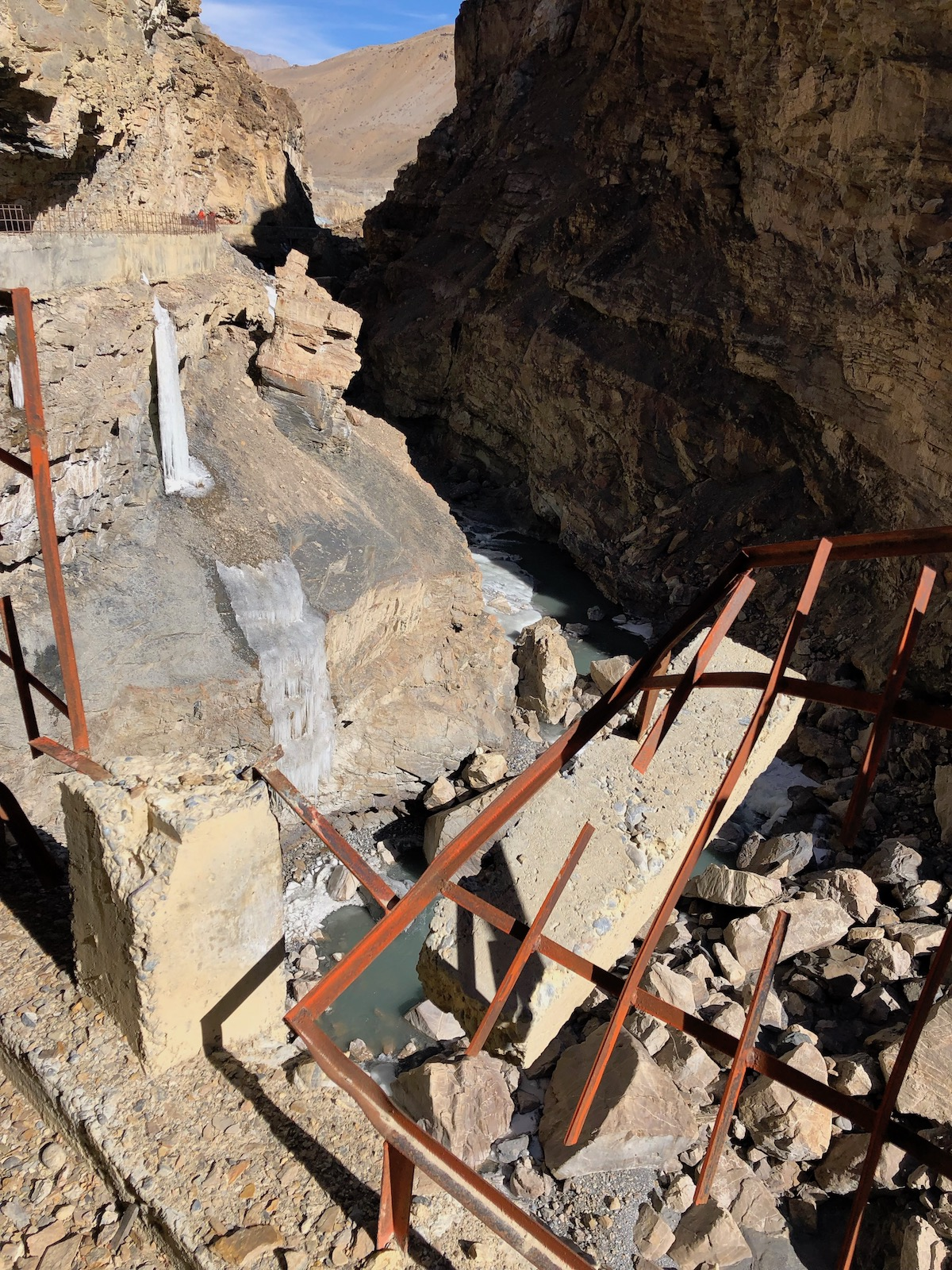 This photo shows some of the hazards that existed at the Lingti crag, which Novak and Delap dubbed Indiana Jones and the Crag of Doom. [Photo] Ari Novak