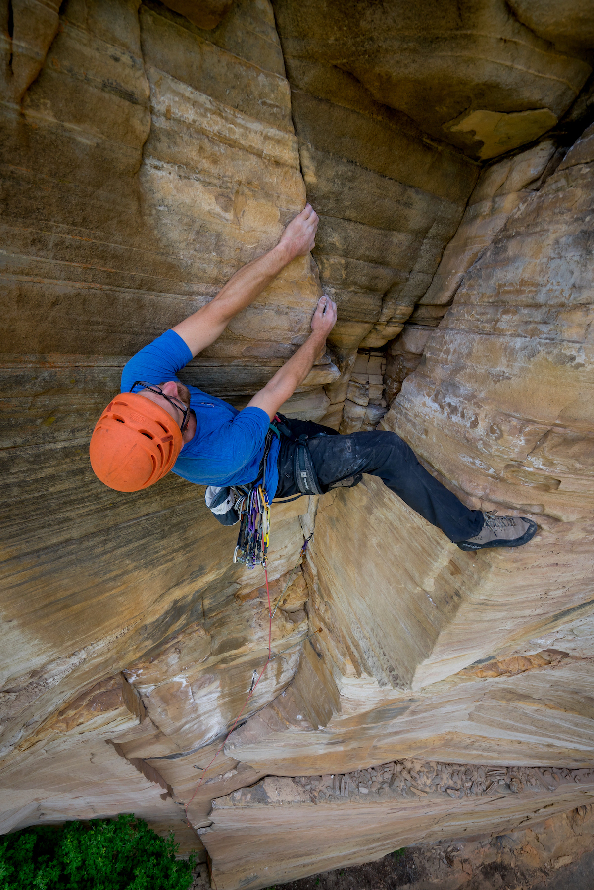 Chris Kalman sporting the Acopa JBs on his and Zach Harrison's new route, Pump Drunk (5.12-, 115') in Northern Arizona's Pumphouse Wash (ancestral homelands of Pueblo, Sinagua, Hohokam, Hopi and Western Apache, among others). [Nelson Klein]
