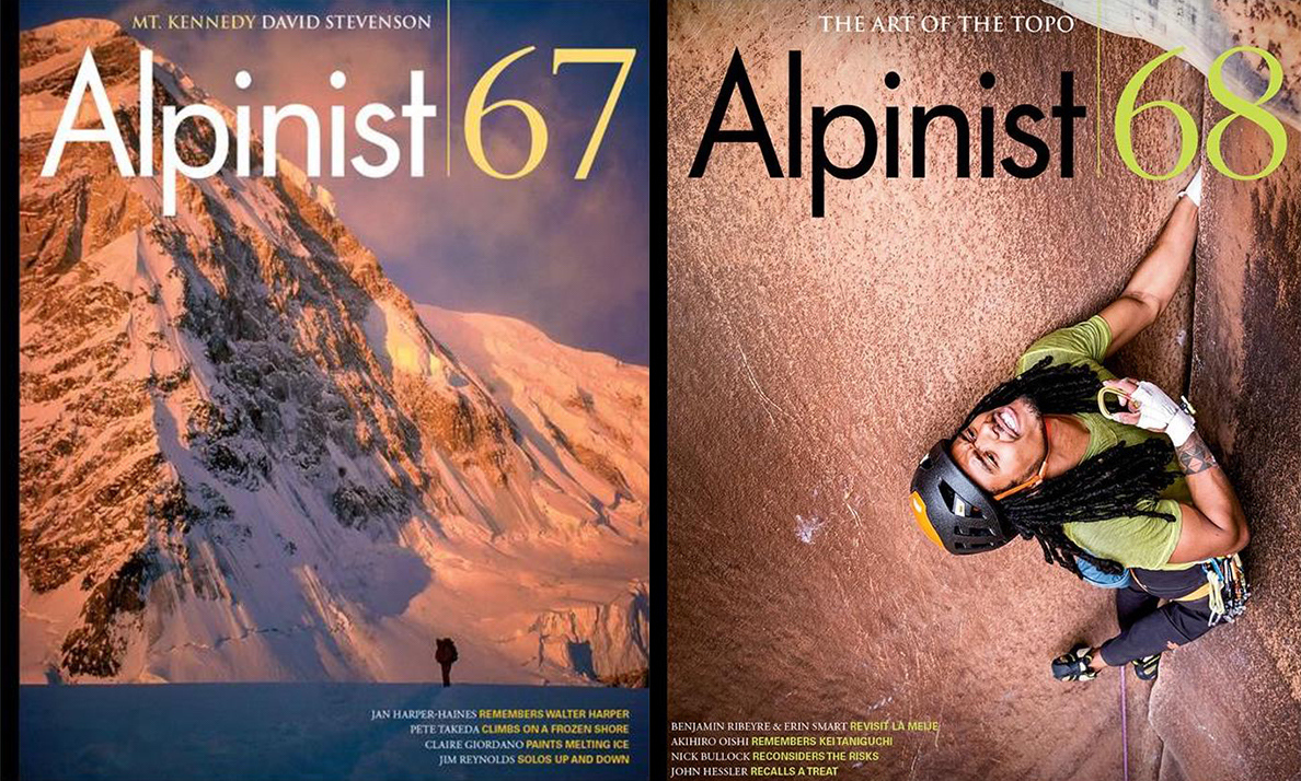 Alpinist 67 (Autumn 2019) and Alpinist 68 (Winter 2019-20) include stories that are finalists in the category for Best Mountaineering Article at the 2020 Banff Mountain Film and Book Festival.
