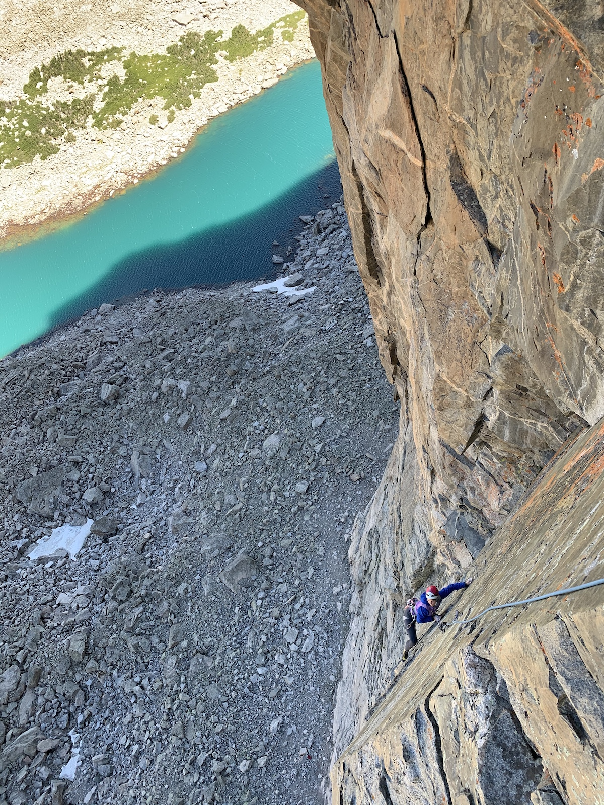 Clark enjoying the exposure on Jaded Lady, Mt. Hooker, Wind River Range. [Photo] Will Stanhope