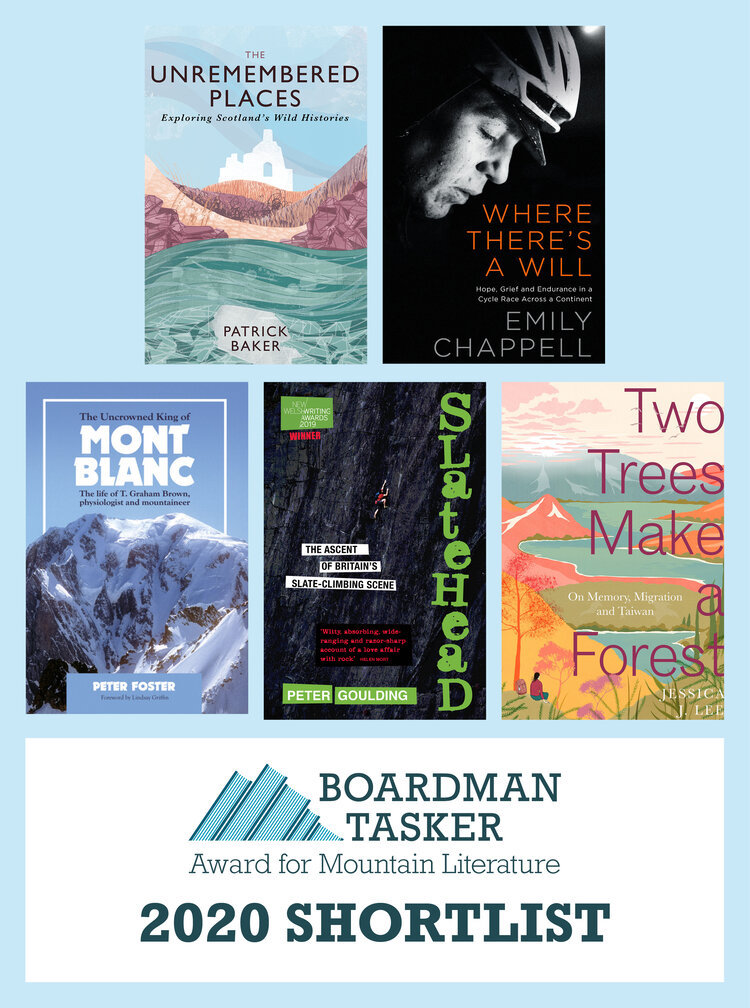 This image shows the five books that are on the shortlist for the 2020 Boardman-Tasker award. [Image] BoardmanTasker.com