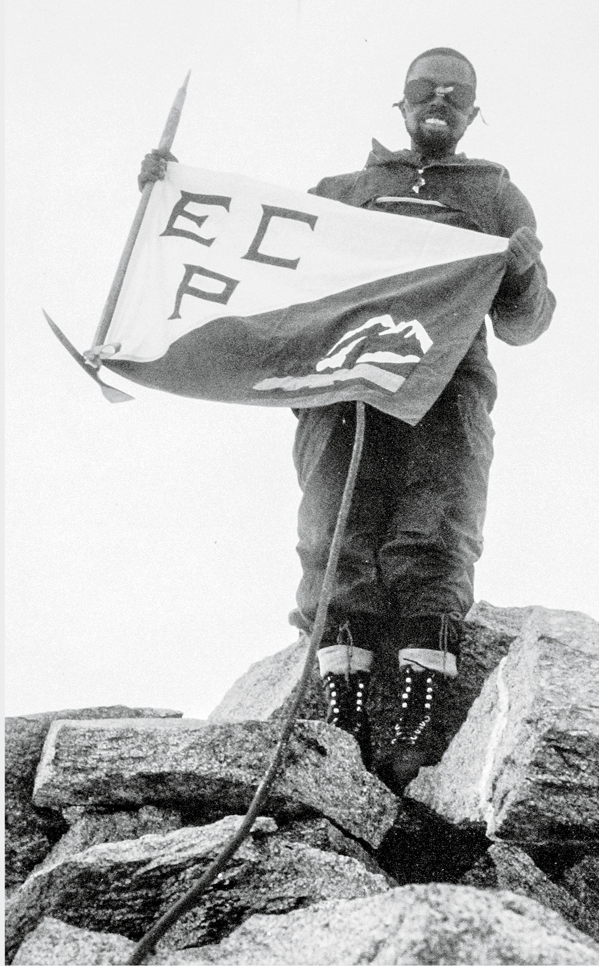 Roberson with the Explorers Club of Pittsburgh's flag atop Nevado Jangyaraju III. [Photo] Larry Wolfe collection