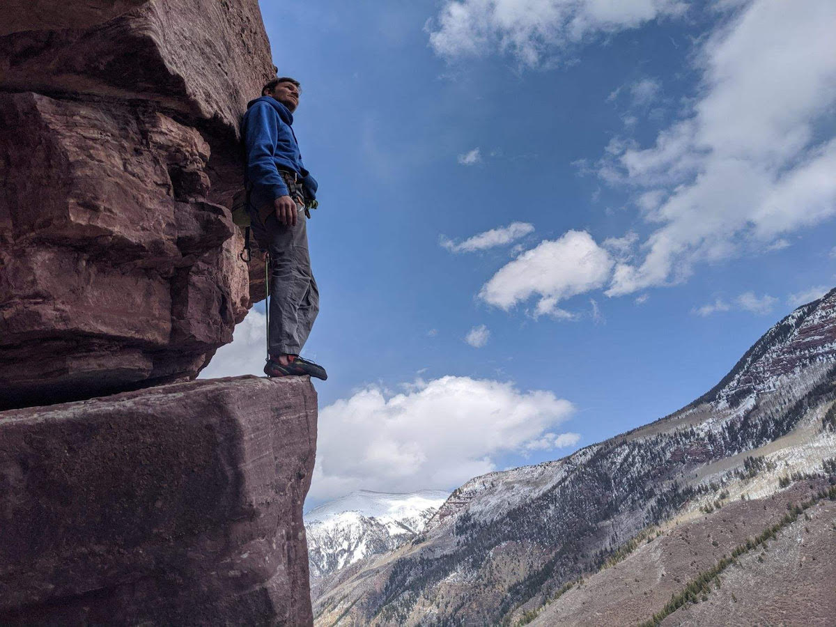 The author wearing the La Sportiva Testarossa climbing shoes at a crag near Redstone, Colorado. [Photo] Nat Gustafson