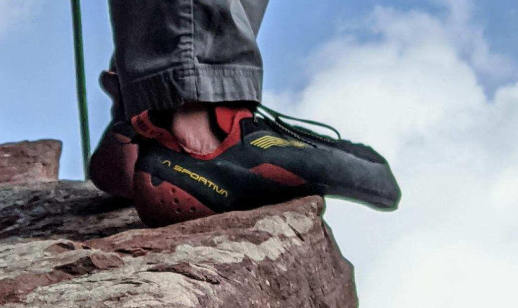 The La Sportiva Testarossa climbing shoes fit the author like a dream. [Photo] Nat Gustafson