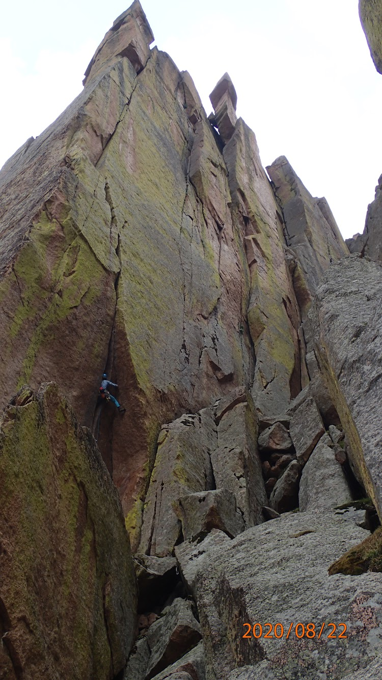 Negley on the first pitch of The Flame (5.11, 300'). [Photo] McKelvin/Negley collection