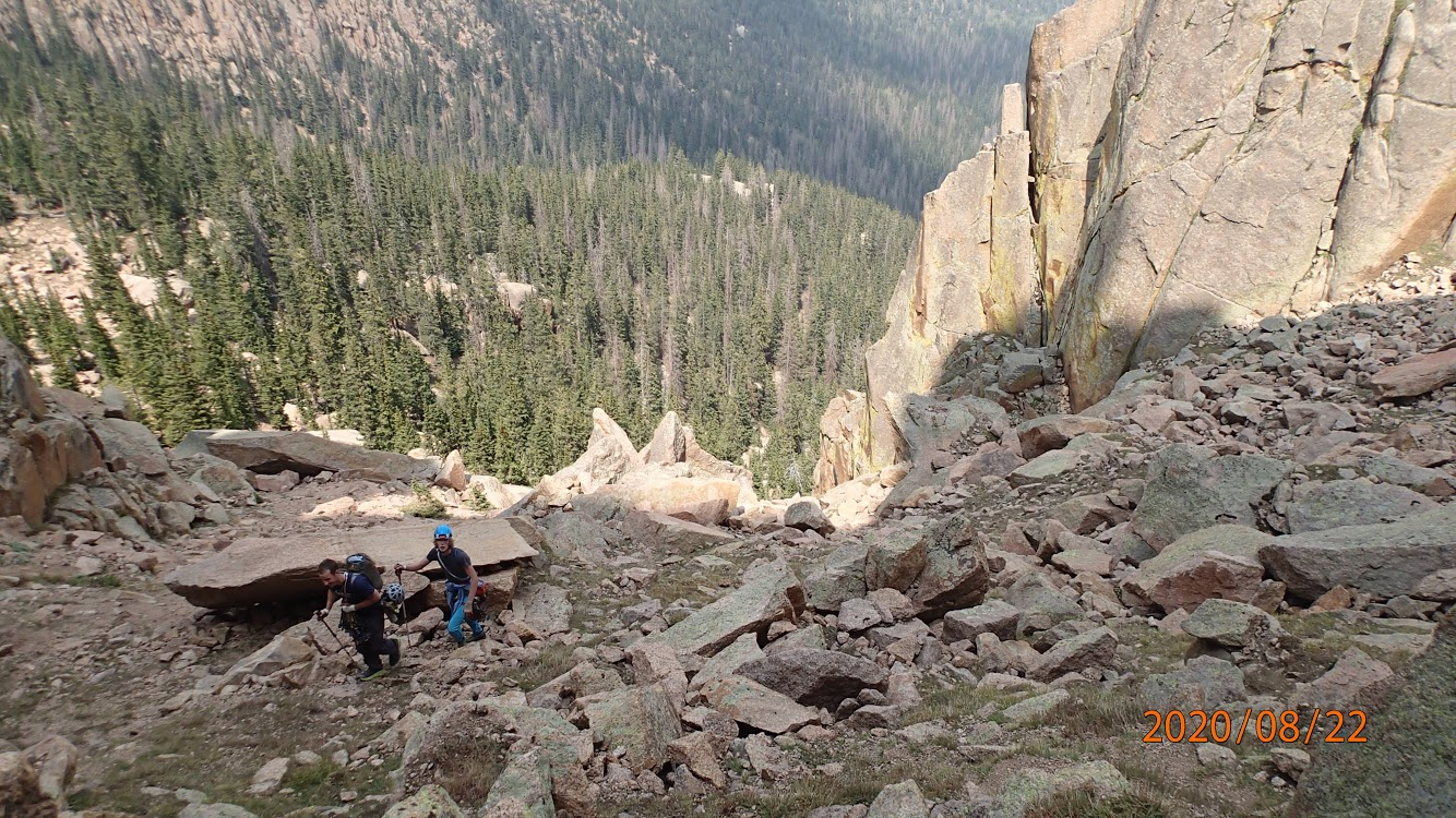 McKelvin and Negley approaching the base of The Flame after the soul crushing hike from Arching Jams (5.10+, 500'). [Photo] McKelvin/Negley collection