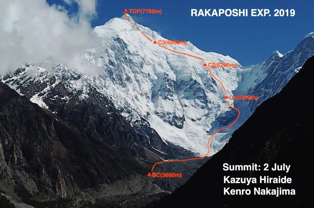 The south face of Rakaposhi (7788m) with the line of ascent. [Photo] Courtesy of Asian Alpine E-News
