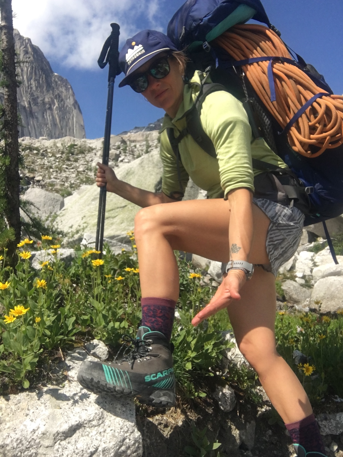 The author showing off the Scarpa Ribelle HD boots in the Canadian Rockies. [Photo] Kate Erwin collection