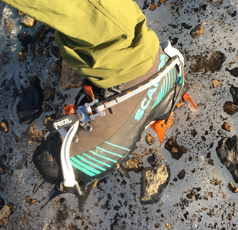 The Scarpa Ribelle HD paired with the Petzl Irvis crampons. [Photo] Kate Erwin collection