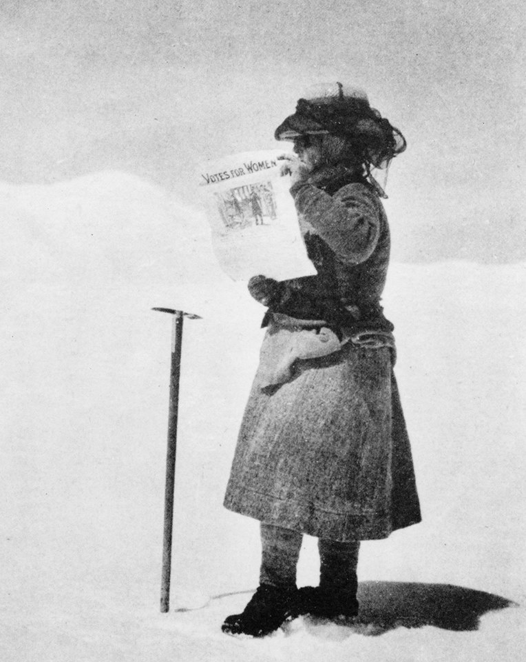 Fanny Bullock Workman with her Votes for Women sign. [Photo] William Hunter Workman, Wikimedia Commons