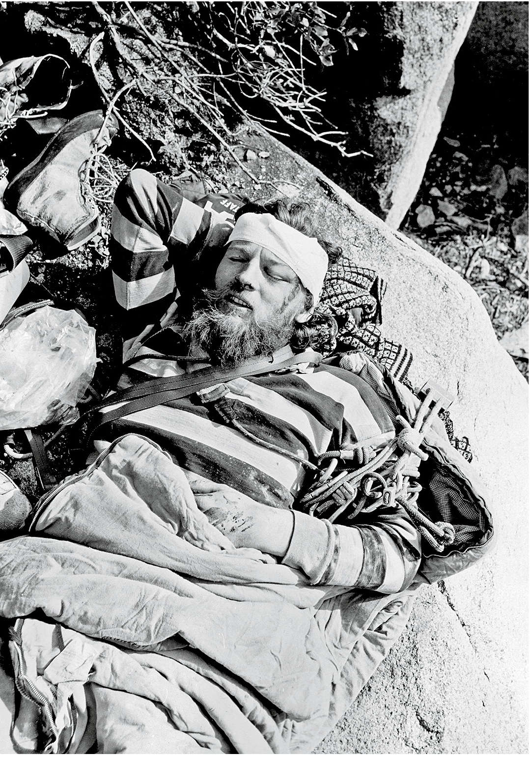 Michael Kennedy, after his fall on Granite Mountain ('Wi:kvte:wa), Arizona. [Photo] Ed Webster