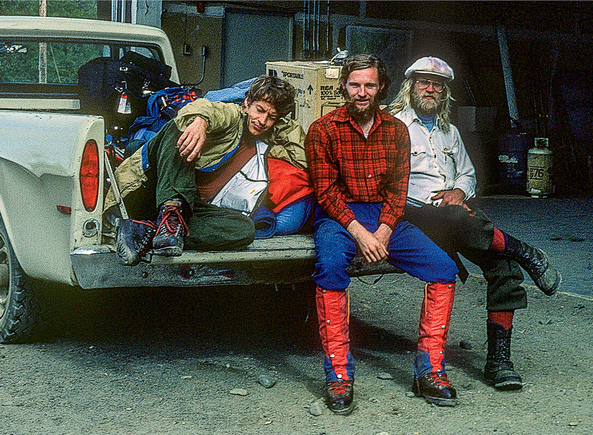 From left to right: George Lowe, Michael Kennedy and Jeff Lowe at the Talkeetna airstrip, on the way to Mt. Hunter (Begguya) and Mt. Foraker (Sultana). [Photo] Michael Kennedy collection