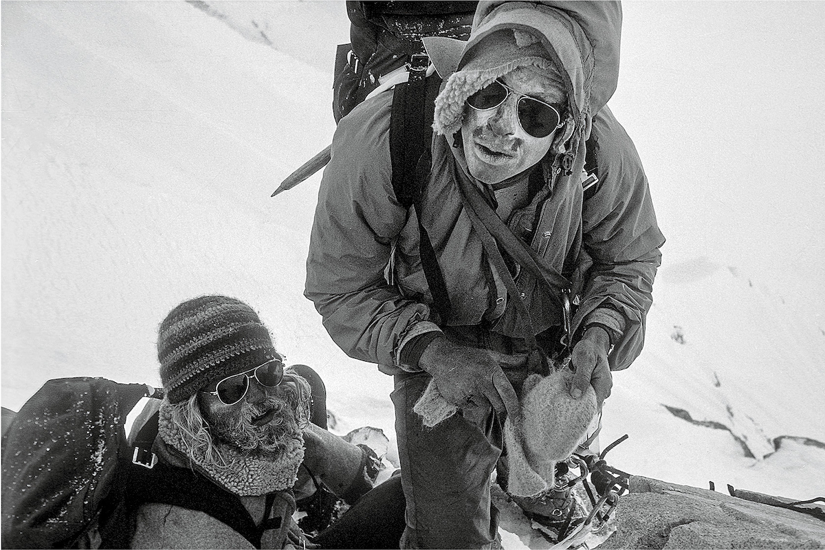 Jeff Lowe (left) and George Lowe during the team's first attempt on the north face of Mt. Hunter (Begguya), after Jeff broke his ankle. [Photo] Michael Kennedy