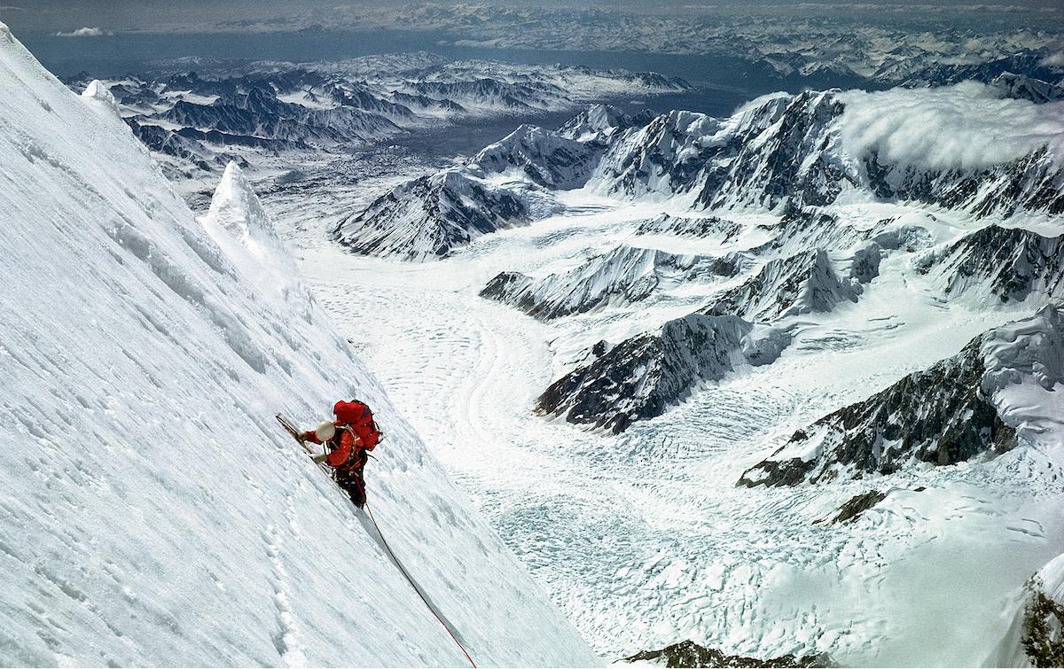 George Lowe on the Knife-Edge Ridge of the Infinite Spur. [Photo] Michael Kennedy