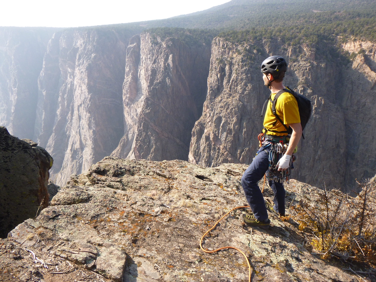Franz tops out a route on the north rim of the Black Canyon. [Photo] Morgan Williams