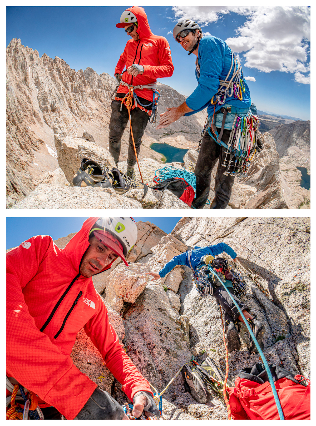 The smooth trigger action and the sticky-rubber like traction of the soft alloy lobes are just two components that make the Alien Revolution a great choice for mountain missions. Dave Allfrey and Luke Holloway plug and play a few ridges south of Mt. Whitney (Tumanguya), California. [Photo] Tad McCrea