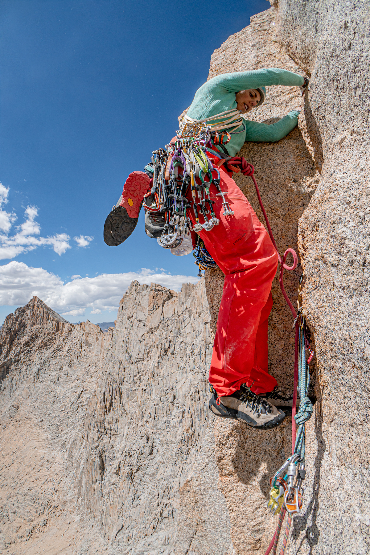 With a light rack of Revolutions and a cool breeze, Jane Jackson jams for joy on the West face of Mt. Russell, California. [Photo] Tad McCrea