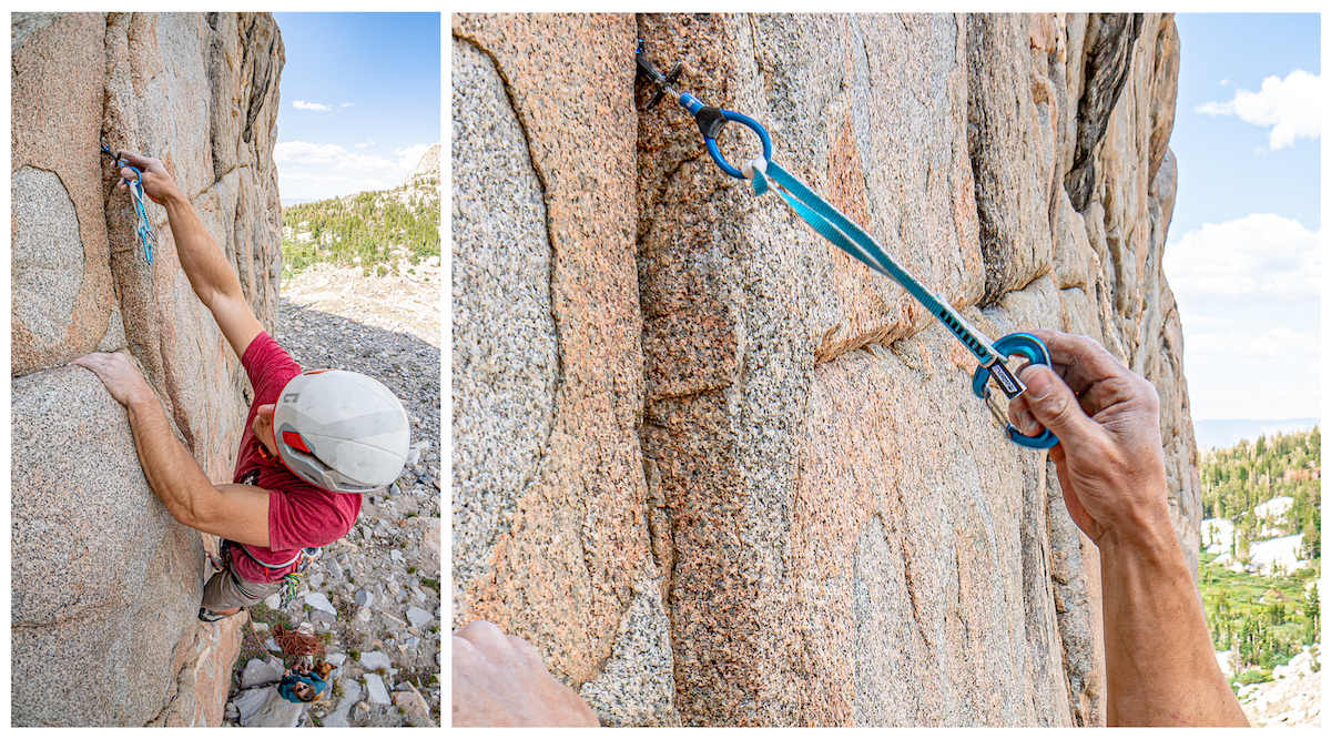 Luke Potter showcases the extendibility of the Double Sling design. Crystal Lake Wall. [Photo] Tad McCrea