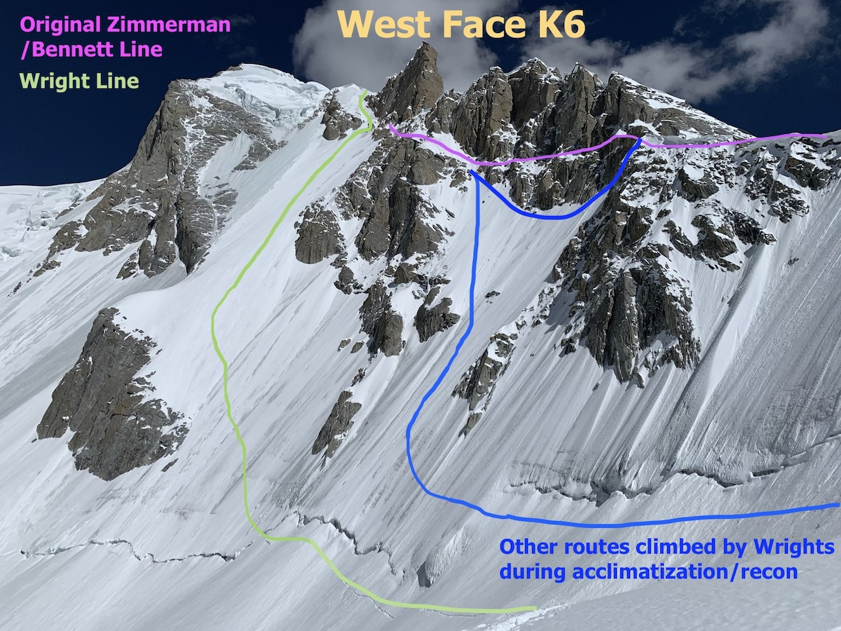 This photo shows the view of the west face of K6 West. The route climbed by Scott Bennett and Graham Zimmerman in 2015 stays high on the ridge and is shown in purple. The Wrights ascended some routes intersecting the 2015 route partway up to acclimatize (shown in blue), but on their final ascent they stayed low and climbed up to the left (shown in green). [Photo] Priti and Jeff Wright collection