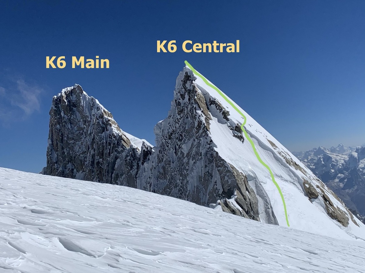 The view of K6 Central from K6 West, with the line of ascent shown in green. [Photo] Priti and Jeff Wright collection