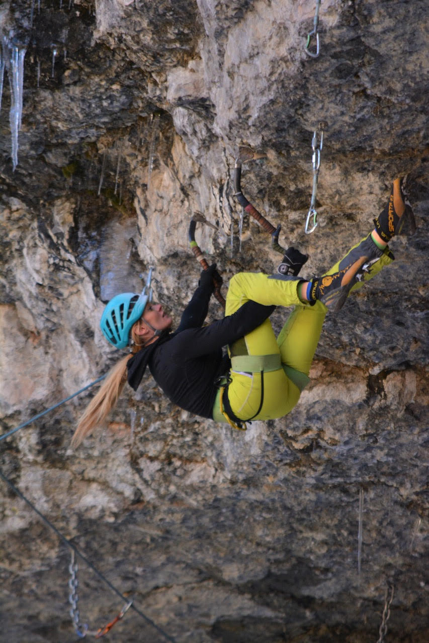 Lauren Shartell refines moves on the Lightning (M12+/M13-) in the Rigid Designator Amphitheatre, Vail, Colorado, the day before she redpointed the route on November 8. She's now the second US woman to send the climb as well as the grade of M13-, but she suggested downgrading the route to M12+. [Photo] Courtesy of Kyle Barker