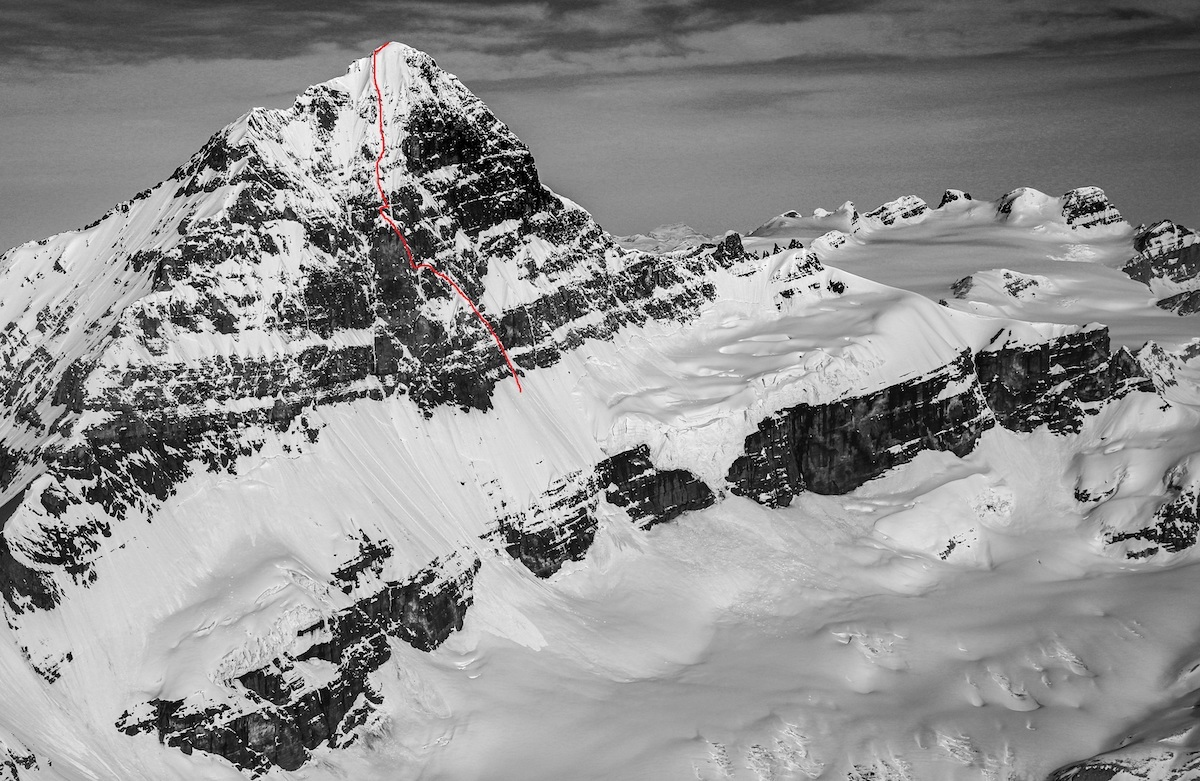 Mt. Forbes (3612m) with the East Face line (M4 WI3) climbed by Quentin Lindfield Roberts and Alik Berg drawn in red. [Photo] John Scurlock