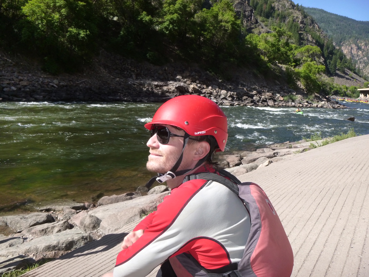 Derek Franz wearing the Ombraz sunglasses comfortably under his kayak helmet along the Colorado River. [Photo] Mandi Franz