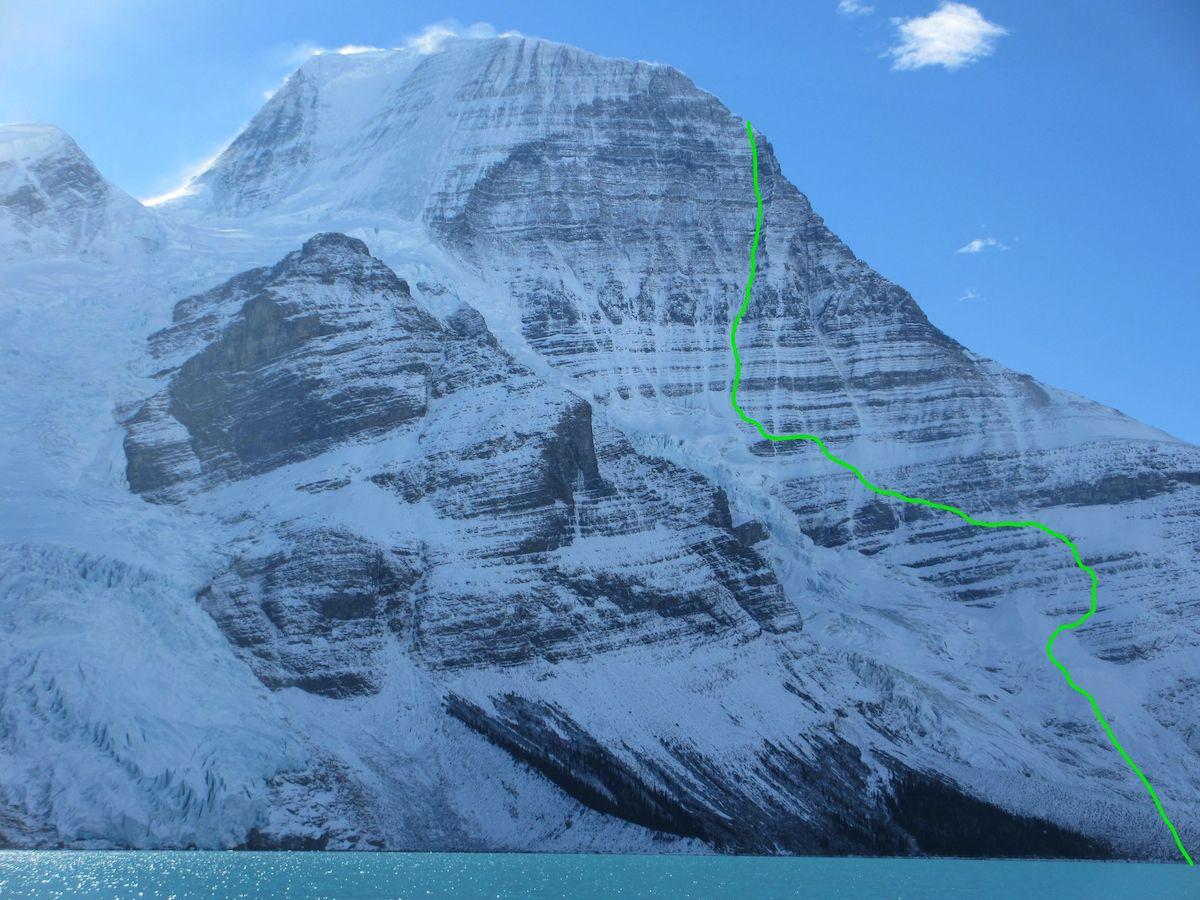 Topo of Running in the Shadows (VI AI5 M6 A0, 2000m),, Emperor Face, Mt. Robson. [Photo] Uisdean Hawthorn