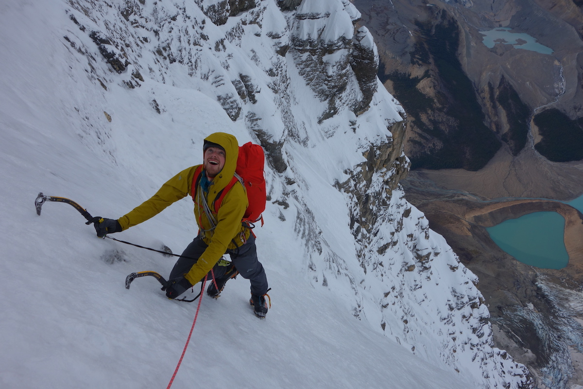 Uisdean Hawthorn enjoying neve in the upper gullies of the Emperor Face. [Photo] Ethan Berman