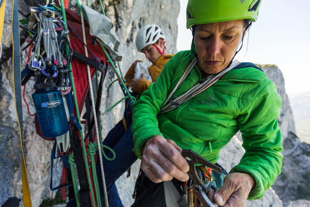 Newlyweds Luka Lindic and Ines Papert on their new route Wolke 7 (aka Cloud 9: 5.13b, 380m), on the Hinteres Feuerhorndl, Reiteralm, Austria. [Photo] Klaus Fengler