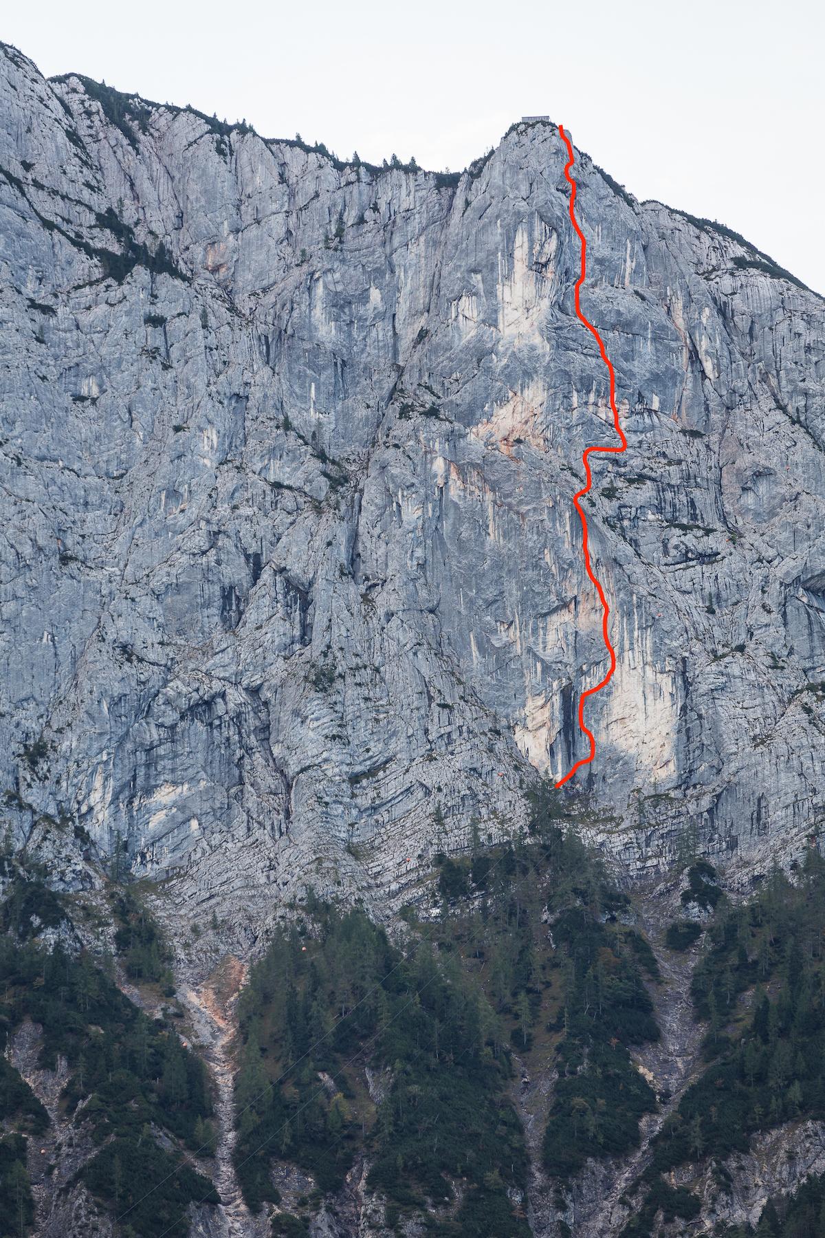 The line of Wolke 7 (aka Cloud 9: 5.13b, 12 pitches, 380m), on the Hinteres Feuerhorndl, Reiteralm, Austria. [Photo] Klaus Fengler