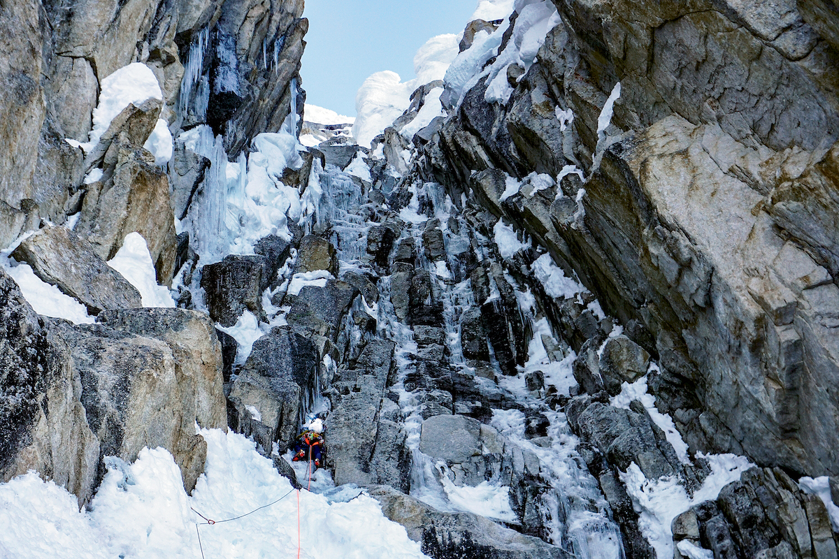 Wright on the first day of the climb. [Photo] Graham Zimmerman