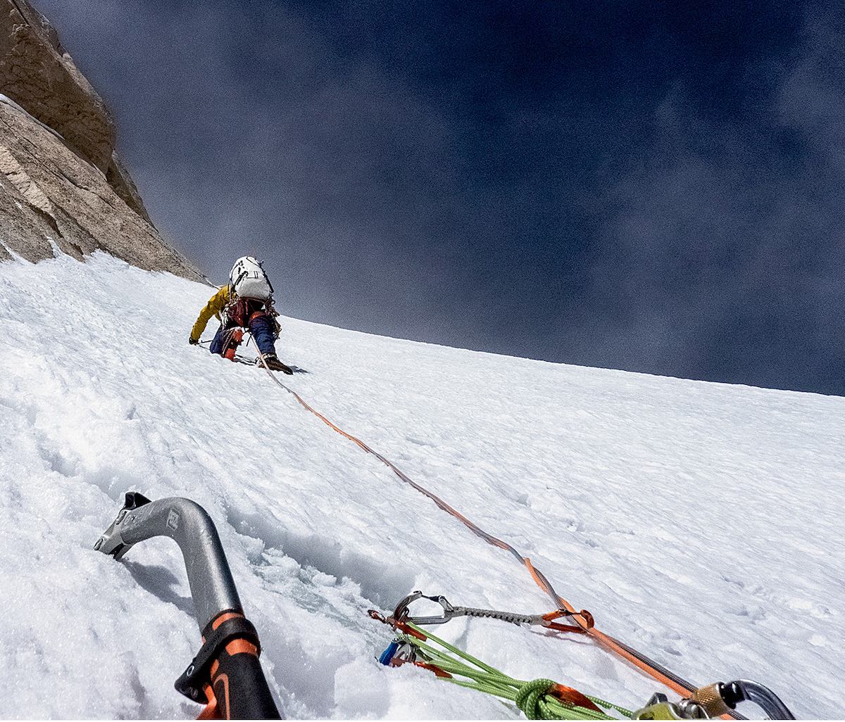 Wright during the final push toward the summit. [Photo] Graham Zimmerman