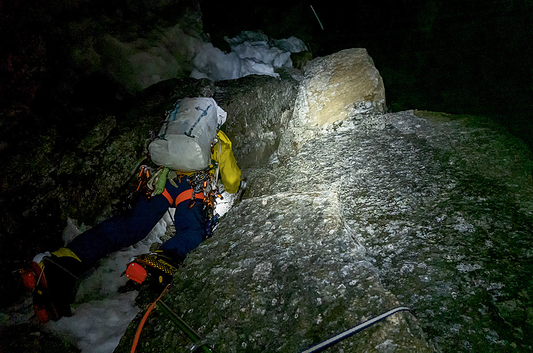 The team climbed some pitches at night to ensure they would be as safe as possible from falling rocks and melting ice in the hot, midsummer temperatures of the Karakoram. [Photo] Graham Zimmerman