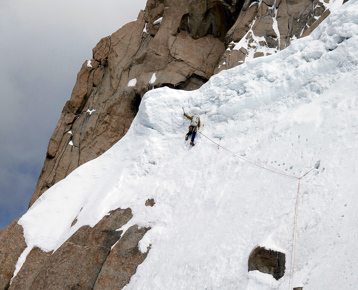 Wright leading rotten snow on the final day of the climb. [Photo] Mark Richey