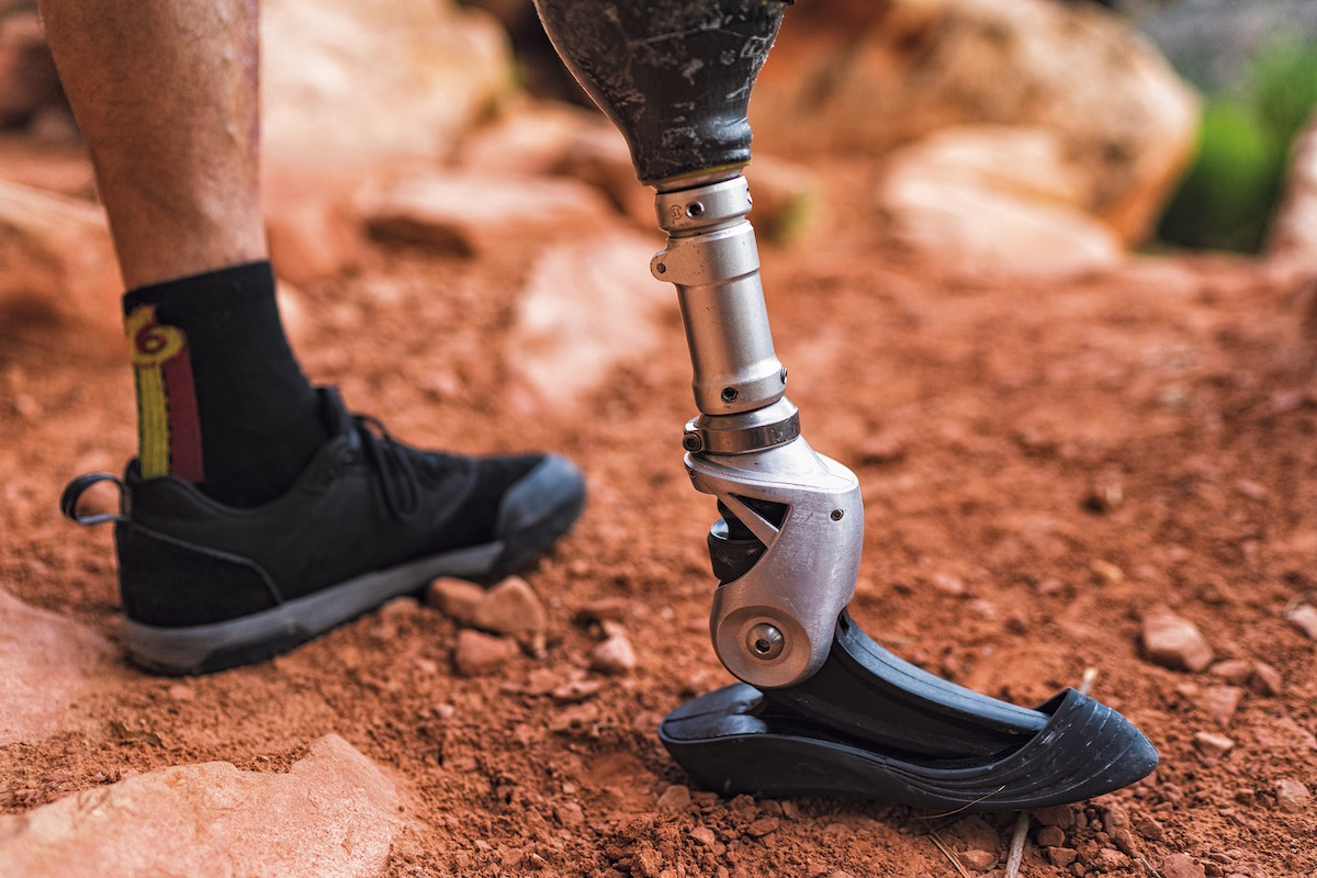 Craig DeMartino has collaborated on a variety of prosthetic designs for climbers. The one pictured here was designed by Kai Lin to perform in thin cracks. [Photo] Angela Percival