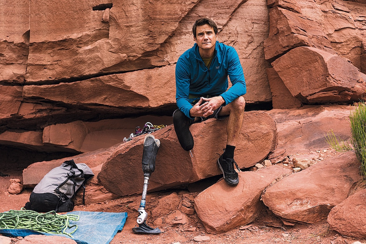DeMartino tests a prosthetic-foot prototype in Bears Ears National Monument. [Photo] Angela Percival