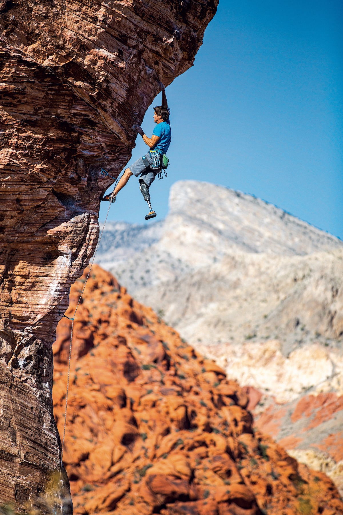 DeMartino leads Caustic (5.11b) in Red Rock Canyon National Recreation Area, Nevada. [Photo] Cameron Maier/Bearcam Media